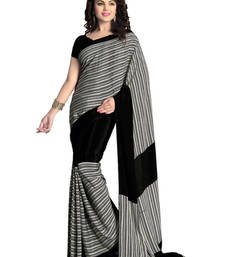 Buy Black printed art crape Saree with blouse crepe-saree online