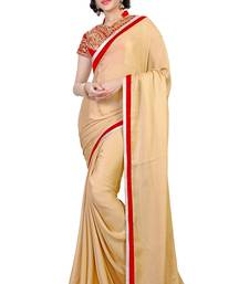 Buy Beige embroidered jacquard saree with blouse jacquard-saree online