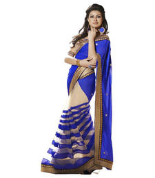 Buy multicolor printed georgette party wear sarees With Blouse party-wear-saree online