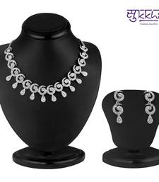 Buy Sukkhi Glimmery Rhodium plated AD Stone Necklace Set eid-jewellery online