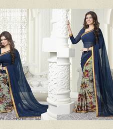 Buy blue printed georgette saree with blouse printed-saree online