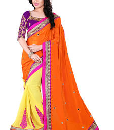 Buy Orange and Yellow embroidered georgette saree with blouse wedding-saree online