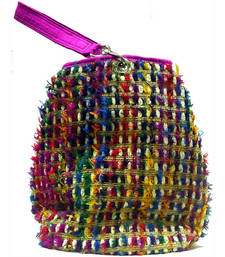 Buy Jute with multi colour furr work Bag potli-bag online