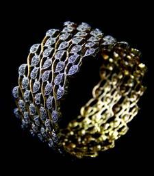 Buy CZ STONE STUDDED BEAUTIFUL LEAF DESIGN KADA  bangles-and-bracelet online