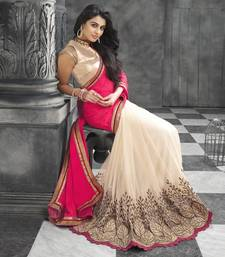 Buy Pink and Cream  embroidered Georgette saree with blouse party-wear-saree online