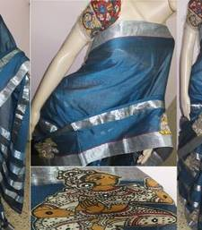 Buy Blue hand woven cotton kalamkari saree with blouse kalamkari-saree online