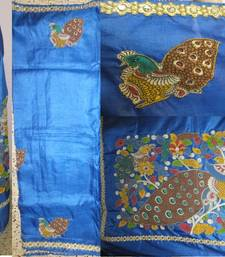 Buy blue hand woven silk kalamkari saree with blouse kalamkari-saree online