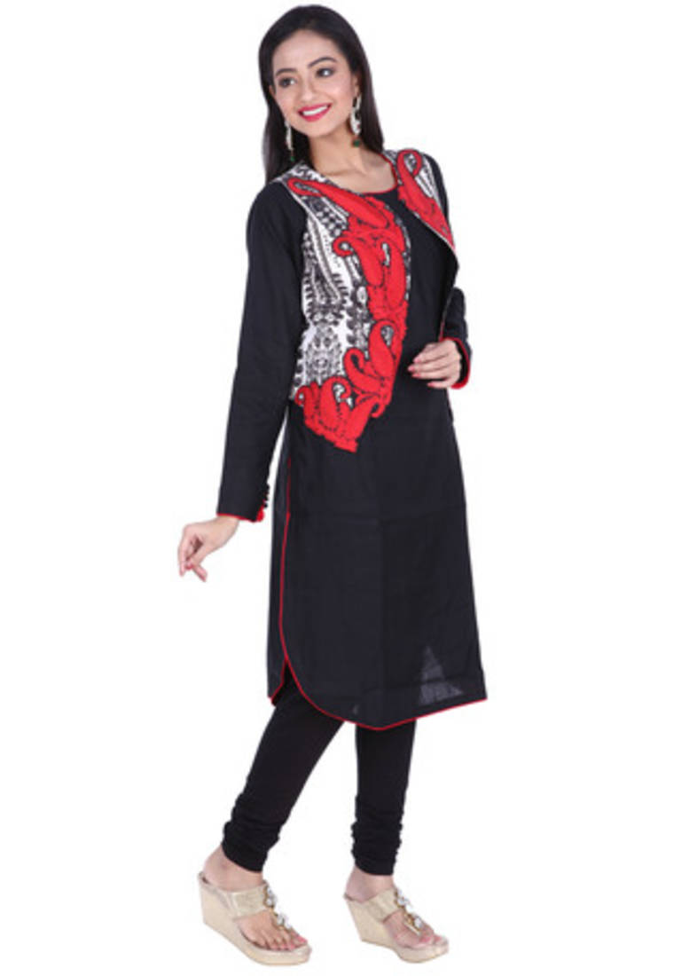 Buy Black Embroidered Pure Linen Cotton Ready Made Kurti With Jacket Online