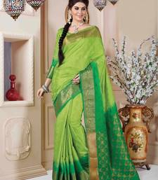 Buy Green plain art silk saree with blouse banarasi-silk-saree online