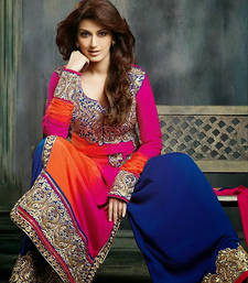 Buy Sonali Bendre In Shaded Pink, Orange & Blue Suit with Plazzo Pants anarkali-salwar-kameez online