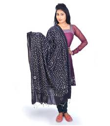 Buy Designer Mirror Work Black Cotton Bandhej Dupatta stole-and-dupatta online