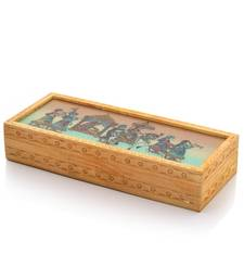 Buy Carved Gemstone Painted Wooden Jewellery Box 354 jewellery-box online