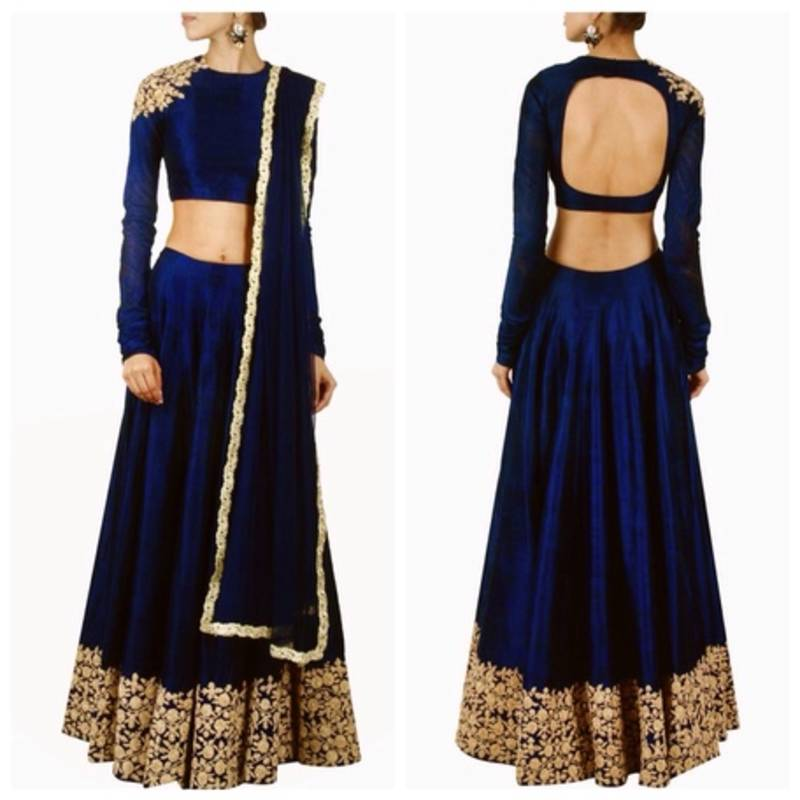 Buy Blue Raw Silk Dori Work Semi Stitched Lehenga Choli Online