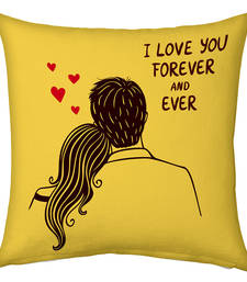 Buy Yellow Designer Romantic Print Cushion valentine-gift online