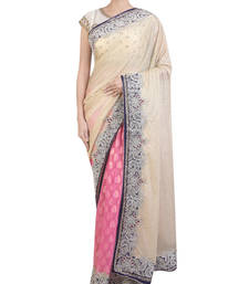 Buy off white and pink embroidered satin saree with blouse satin-saree online