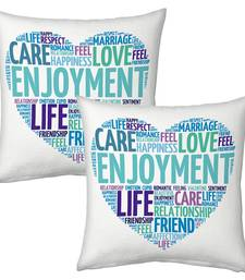 Buy White Designer Romantic Print Cushions Pair 1 cushion-cover online