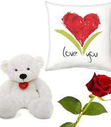 Buy Red Heart Valentine Soft Cushion Rose n Teddy Gift valentine-gift online