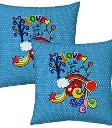 Buy Blue Designer Romantic Print Filled Cushions Pair 2 cushion-cover online