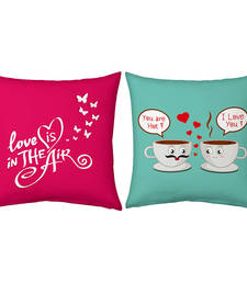Buy Pink n Green Printed Filled Cushions Pair cushion-cover online