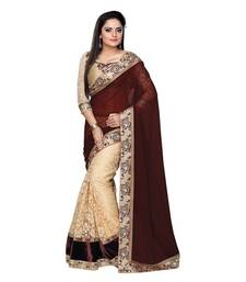 Buy   brown embroidered   faux georgette saree with blouse bollywood-saree online