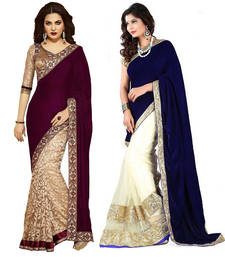 Buy Maroon and Blue embroidered velvet saree with blouse velvet-saree online