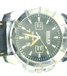Buy BlackDialRoundStainlessSteelLeatherBeltAnalogWatchforMen gifts-for-him online