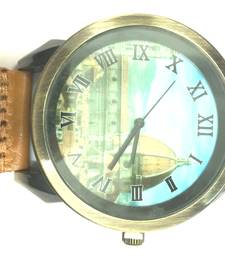 Buy Vintage Designer Quartz Light Brown Leather Strap Mens Wristwatch gifts-for-him online