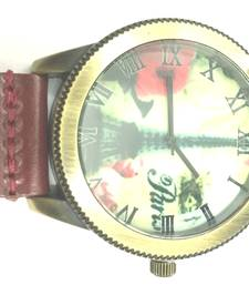 Buy Vintage Eiffel Tower Design Quartz Maroon Leather Strap Mens Wristwatch gifts-for-him online