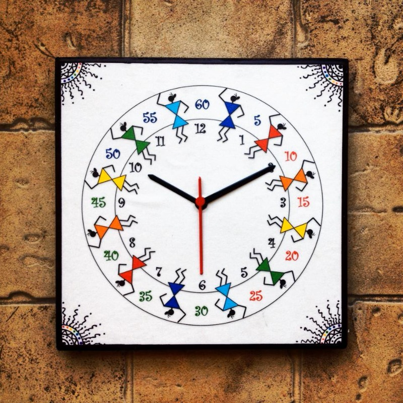Buy Colourful Handmade Hand Painted Warli Wall Clock For