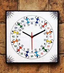 Buy Colourful Handmade Hand Painted Warli Wall Clock for kids wall-clock online