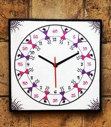 Buy Colourful Handmade Hand Painted Warli Wall Clock for Kids (girls) wall-clock online
