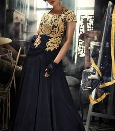 Buy Cutwork Style Golden Net Embroidered Yoke In black Color Gown party-wear-gown online