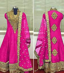 Buy PINK embroidered BANGALORI SILK semi stitched salwar with dupatta party-wear-salwar-kameez online
