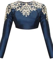 Buy Blue embroidered Raw Silk blouse blouse online