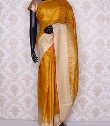 Buy Yellow embroidered faux tussar silk saree with blouse tussar-silk-saree online