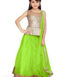Buy Parrot dhupian plain unstitched lehenga-choli kids-lehenga-choli online