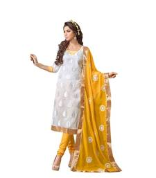 Buy White embroidered Chanderi unstitched salwar with dupatta salwars-and-churidar online