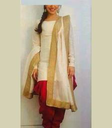 Buy beige embroidered georgette unstitched salwar with dupatta dress-material online