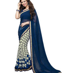 Buy Nevy Blue and Cream printed georgette saree with blouse georgette-saree online