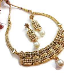 Buy WHITE pearl polki choker set necklace-set online