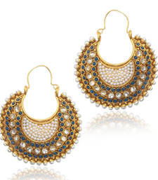Ethnic Indian Vintage Jewelry- Magnetic blue, body of pearl bali earring dds vi633b shop online