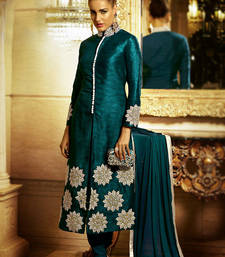 Buy Green embroidered Bhagalpuri Silk semi stitched salwar with dupatta salwar-kameez-below-2000 online