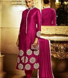 Buy Pink embroidered Bhagalpuri Silk semi stitched salwar with dupatta salwar-kameez-below-2000 online