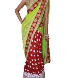 Buy Pista green and Magenta Lehenga saree with white embroidery work readymade-lehenga-choli online