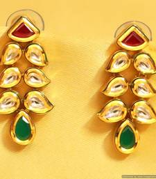 Buy Multicolour Kundan Meenakari Paisley Earrings danglers-drop online