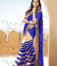 Buy BLUE HAVY EMBROIDERY WITH STONE NET AND GEORGETTE SAREE WITH BLOUSE shimmer-saree online