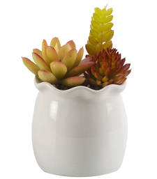 Buy Colorful Artificial Plant with Glossy Finish Ceramic Pot pot online