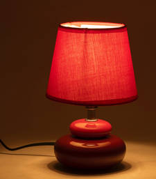 Buy Pink Fabric Shade Ceramic Base Table Lamp table-lamp online