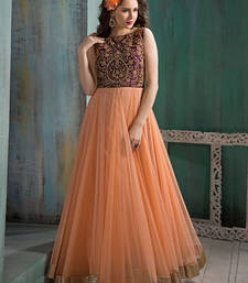 Buy peach embroidered net semi stitched salwar with dupatta party-wear-gown online