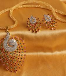 Buy GORGEOUS CZ PEACOCK PENDANT SET WITH ZIRCON STONES FILLED CHAIN  necklace-set online